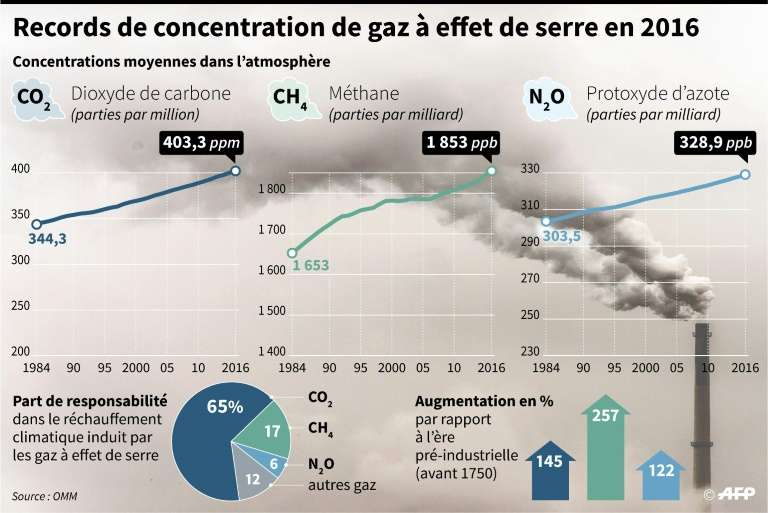 En 2016, les teneurs de l'atmosphère terrestre en gaz à effet de serre étaient (de nouveau) un record. © Iris Royer de Vericourt, Simon Malfatto, AFP