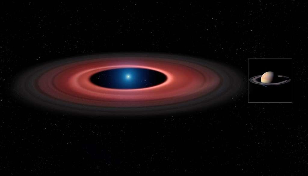 Vue d'artiste du disque de débris entourant la naine blanche SDSS J1228+1040 (à gauche) et du système d'anneaux de Saturne (à droite). L'une et l'autre représentations sont à la même échelle. La naine blanche SDSS J1228+1040 arbore un diamètre sept fois inférieur à celui de Saturne mais est dotée d'une masse 2.500 fois plus élevée. © Mark Garlick University of Warwick/ESO/Nasa/Cassini