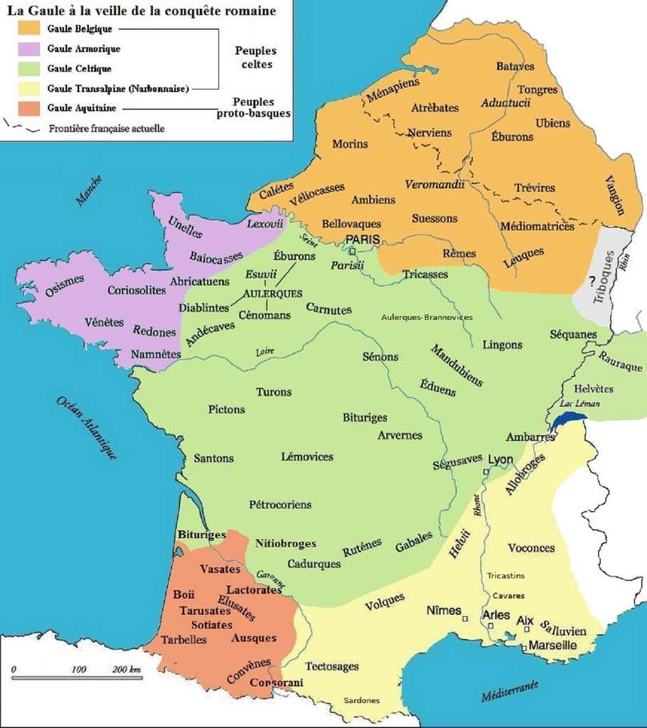 Carte de la Gaule à la veille de la conquête romaine. Auteur: Treanna, 2004. © Wikimedia Commons, domaine public.