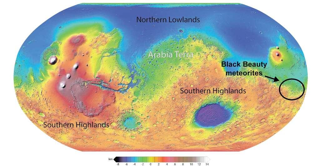 Les astronomes estiment que la météorite Black Beauty vient de l'hémisphère sud de Mars. La météorite est considérée comme tellement précieuse qu'un seul gramme est estimé à 10.000 dollars ! © Université de Copenhague