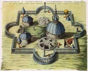 Représentation de l'observatoire de Tycho Brahé de l'Atlas Major de J. Blaeu, Amsterdam 1662