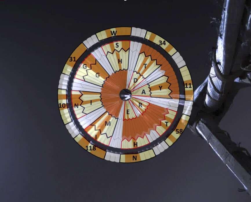 Cette illustration montre comment l'ingénieur système de la Nasa, Ian Clark, a utilisé un code binaire pour écrire «Dare Mighty Things» dans les bandes oranges et blanches du parachute de 21 mètres du rover Perseverance. Il a également inclus les coordonnées GPS du quartier général de la mission au Jet Propulsion Laboratory (Californie). © JPL Caltech, Nasa