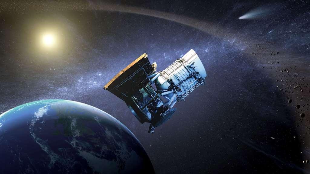 Wise (Wide-field infrared survey explorer, soit en français « Explorateur à grand champ pour l'étude dans l'infrarouge ») est un télescope spatial américain dont la mission consiste à réaliser une cartographie complète des sources infrarouges afin de repérer en particulier les astéroïdes comme les géocroiseurs, les étoiles peu visibles proches du Soleil et les étoiles de notre Galaxie masquées en lumière visible derrière des nuages interstellaires, comme c'est le cas de certains amas ouverts d'étoiles. © Nasa, JPL-Caltech