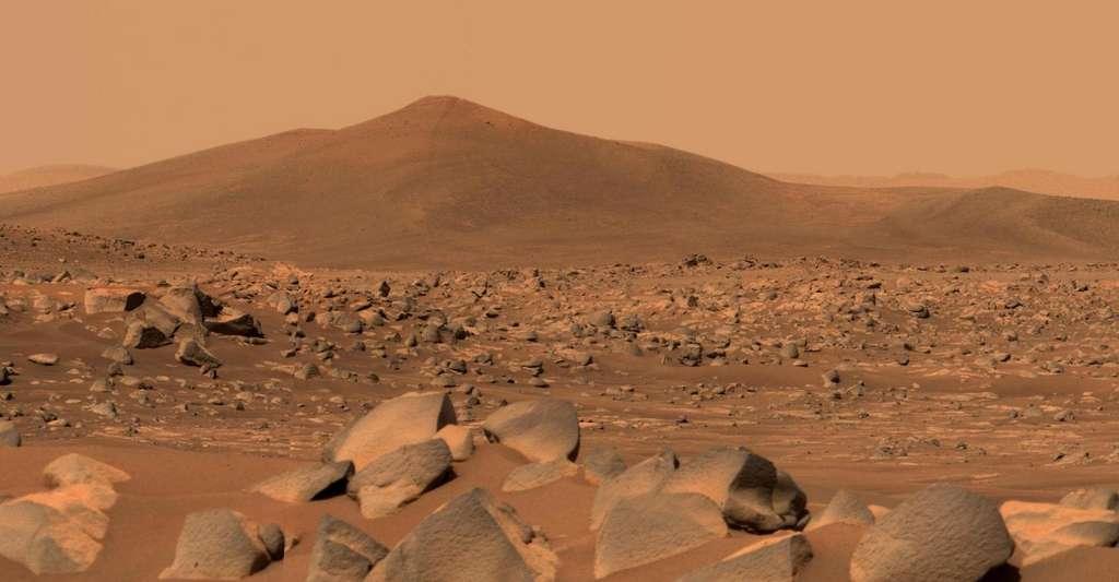 Le 29 avril 2021, Perseverance a pointé les caméras qui composent l'imageur Mastcam-Z vers une colline située à quelque 2,5 kilomètres de lui, une colline baptisée Santa Cruz. © Nasa, JPL-Caltech, ASU, MSSS