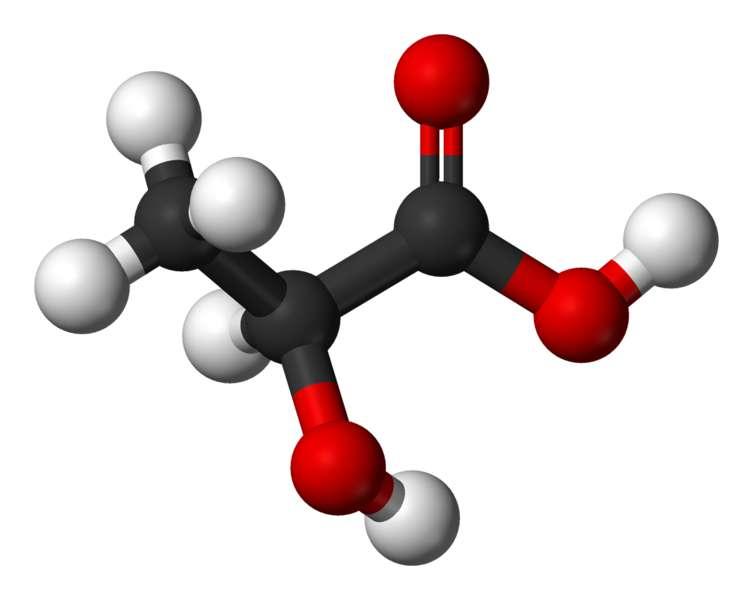 Le lactate est la forme ionique de l'acide lactique. © Benjah-bmm27, Wikimedia, domaine public