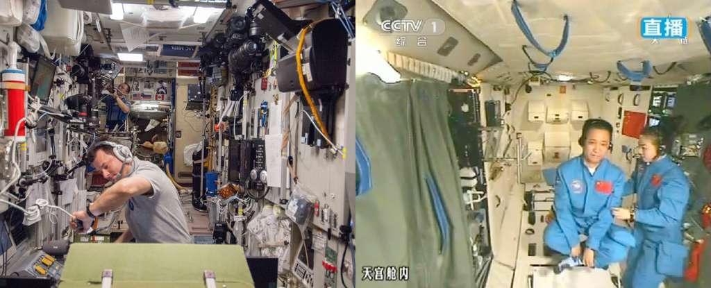 Comparaison de l'intérieur du module russe Zvezda de la Station spatiale internationale et du module chinois Tiangong-1. La Chine est maintenant prête pour mettre en place une petite station spatiale inhabitée. © Nasa, CCTV