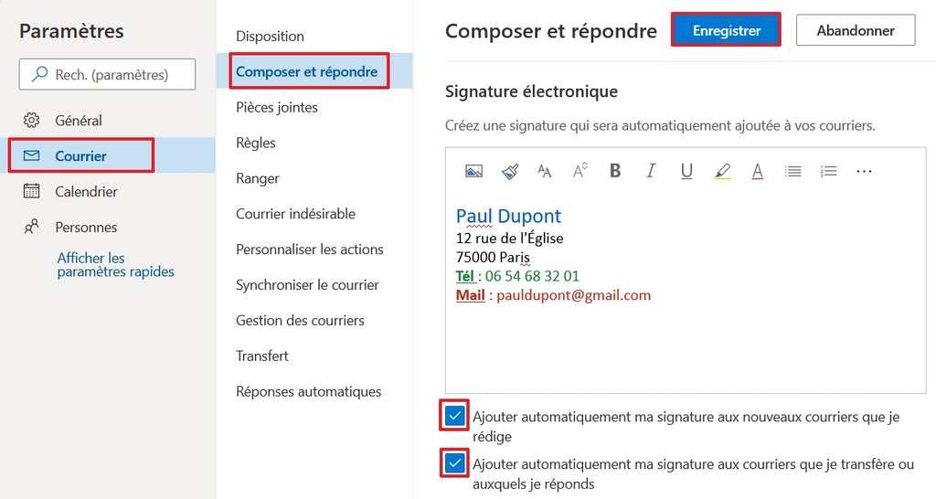 Créez votre signature et cochez les cases pour qu'elle soit ajoutée automatiquement. © Microsoft