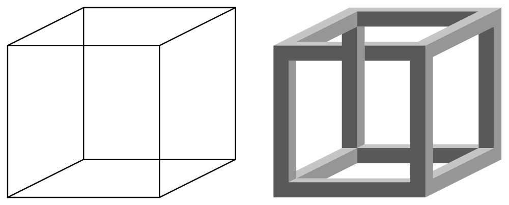 Le cube de Necker et la perspective cavalière