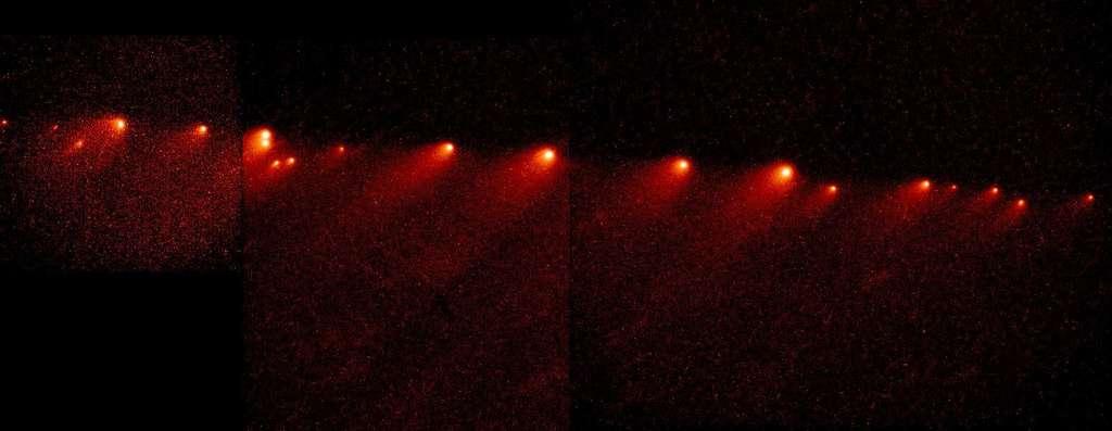 En 1993, les astronomes découvrirent une succession de morceaux de comète. Ils provenaient de la dislocation, un an plus tôt, de la comète Shoemaker-Levy 9 lors de son passage le plus rapproché de Jupiter. En juillet 1994 ces fragments plongèrent dans l'atmosphère de la planète gazeuse géante. © H. Weaver (JHU), T. Smith, Nasa