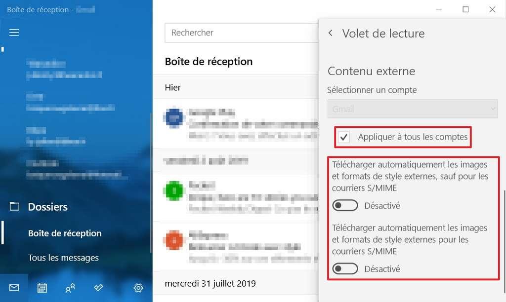 Placez le curseur des options de téléchargement automatique sur « Désactivé », puis cochez la case « Appliquer à tous les comptes » si vous utilisez plusieurs comptes de messagerie. © Microsoft