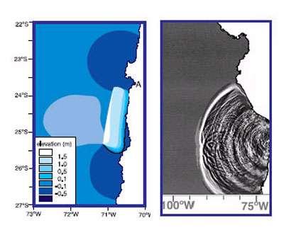 Modélisation numérique du tsunami du juillet 1995 au Chili en cours de génération (initialisation de l'eau en surface). A = Antofagasta, Chili.
