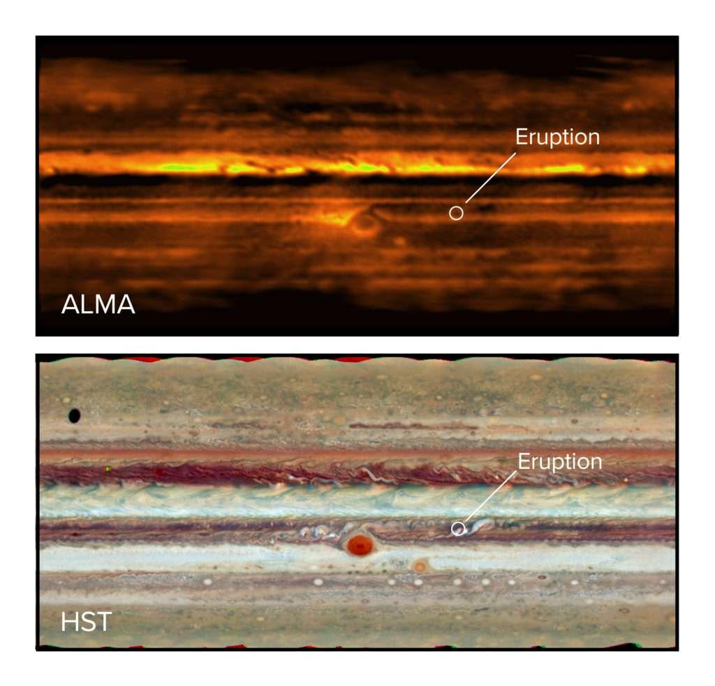 Ces deux cartes plates de Jupiter en ondes radioélectriques avec Alma (en haut) et en lumière visible avec le télescope spatial Hubble (en bas) montrent une tempête (Eruption) dans la ceinture équatoriale Sud. © Alma (ESO/NAOJ/NRAO), I. de Pater et al. ; NRAO/AUI NSF, S. Dagnello ; Nasa/Hubble