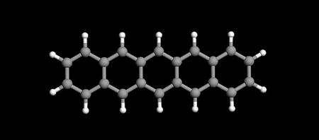 Une représentation de la molécule de pentacène, avec en blanc les atomes d'hydrogène et en gris ceux de carbone. Crédit : IBM Research–Zurich