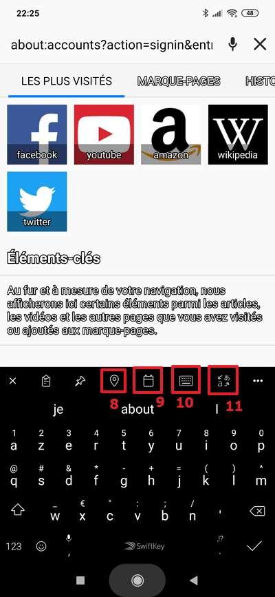 Mettez votre doigt sur la barre de menu et faites-le glisser à droite ou à gauche pour voir toutes les fonctions de Swiftkey. © Microsoft