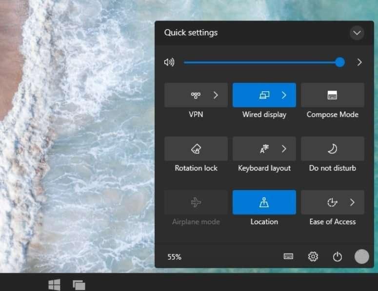 Cette barre flottante permet un accès rapide à des fonctions comme la rotation de l'écran ou le partage sur un écran. Cela rappelle les menus d'un smartphone. © Bleeping Computer
