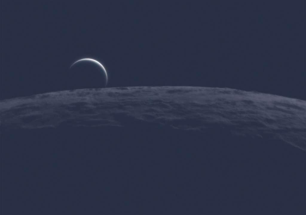 La perspective adoptée ici par le Français Nicolas Lefaudeux rappelle celle des missions Apollo. Mais ce n'est pas la Terre que l'on découvre au-dessus du relief de la Lune… © Nicolas Lefaudeux, Astronomy Photagrapher of the Year 2021