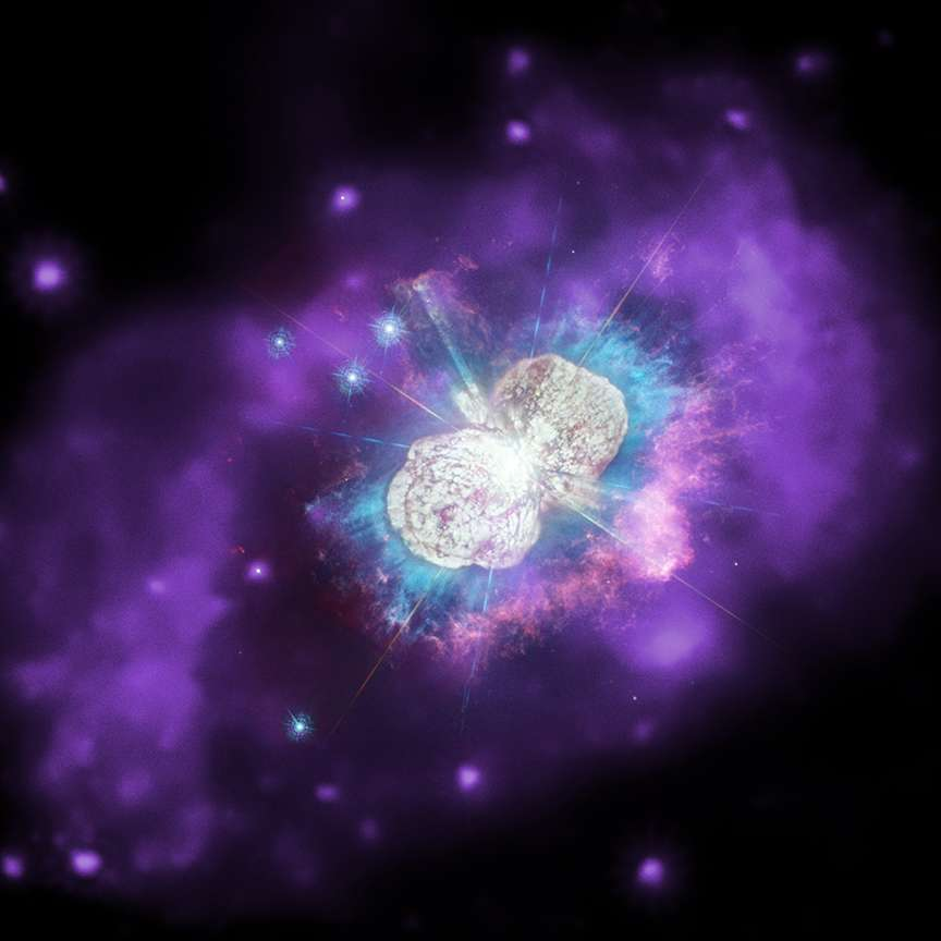 La luminosité du système de deux étoiles Eta Carinae dépasse les cinq millions de fois celle de notre Soleil! © X-ray : Nasa/CXC; Ultraviolet/Optical : Nasa/STScI; Combined Image : Nasa/ESA/N. Smith (University of Arizona), J. Morse (BoldlyGo Institute) and A. Pagan
