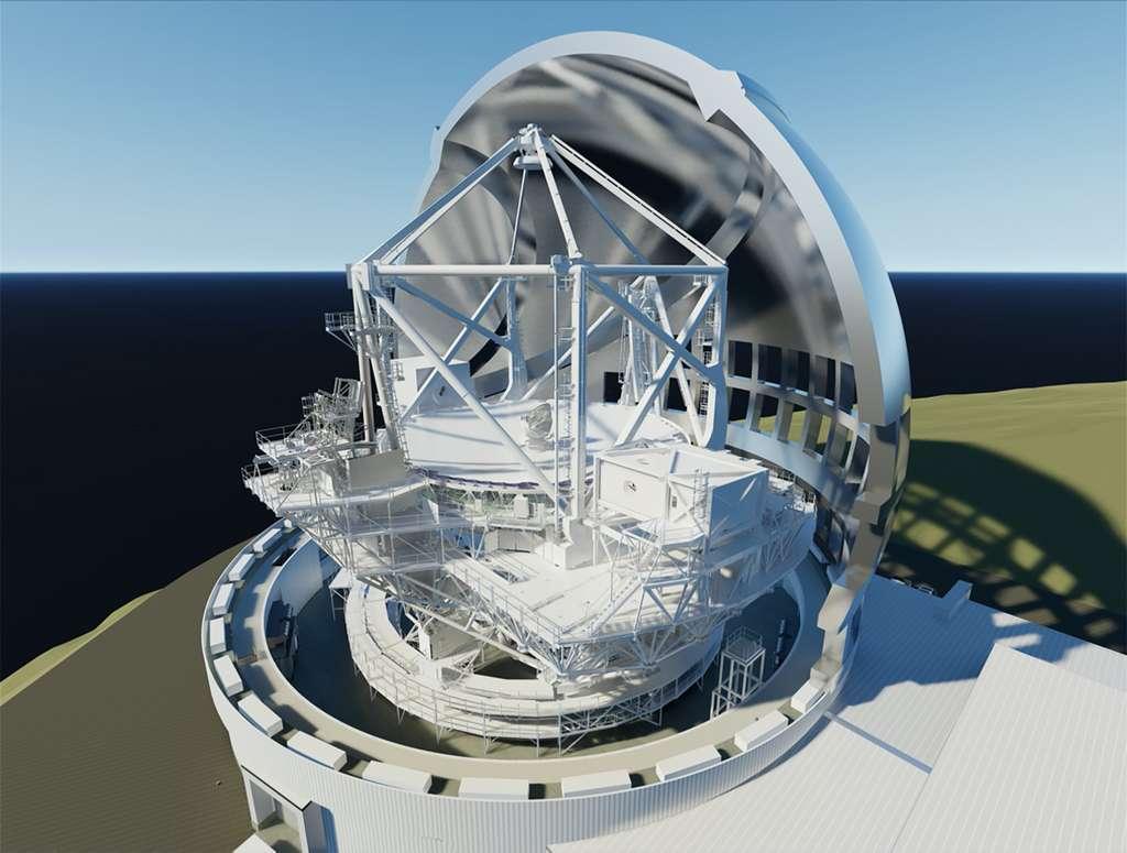 Vue en coupe du futur télescope TMT de 30 mètres de diamètre (Thirty Meter Telescope) en cours de construction sur à Mauna Kea sur l'île d'Hawaï. © TMT Consortium, M3 Engineering