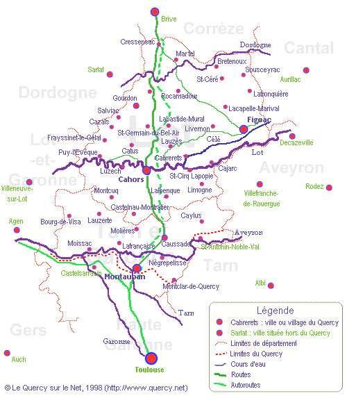 Carte représentant les villes et les limites du Quercy. © DR