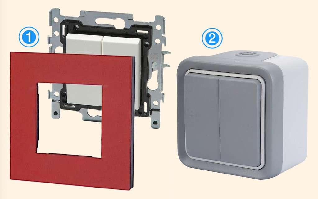 1. Interrupteur double commande à encastrer © Niko - 2. Modèle étanche en saillie de la gamme« Plexo » © Legrand