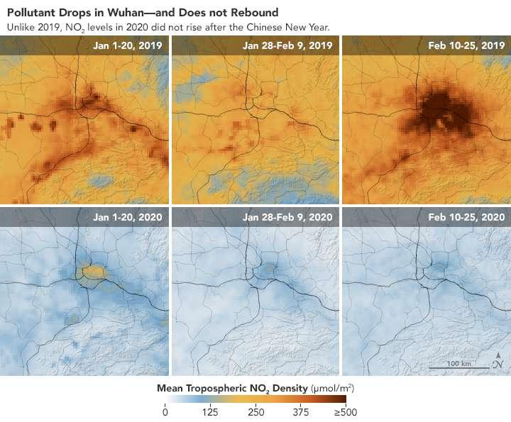 Contrairement à ce qui s'est passé en 2019, la concentration en dioxyde d'azote (NO2) n'est pas remontée après la période de congés liée au Nouvel An chinois. © Joshua Stevens, Earth Observatory