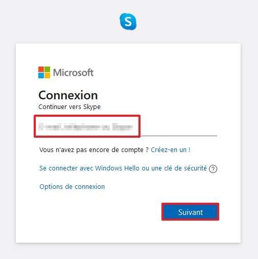 Rentrez vos identifiants Skype. © Microsoft