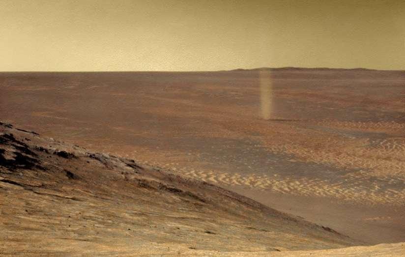 Une petite tornade martienne photographiée par Opportunity en 2016. © Nasa, JPL-Caltech