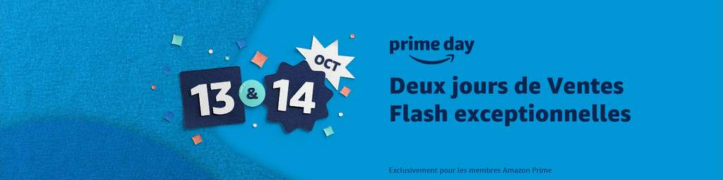 À l'occasion du Prime Day Amazon, profitez de ventes flash exceptionnelles entre le 13 et 14 octobre © Amazon