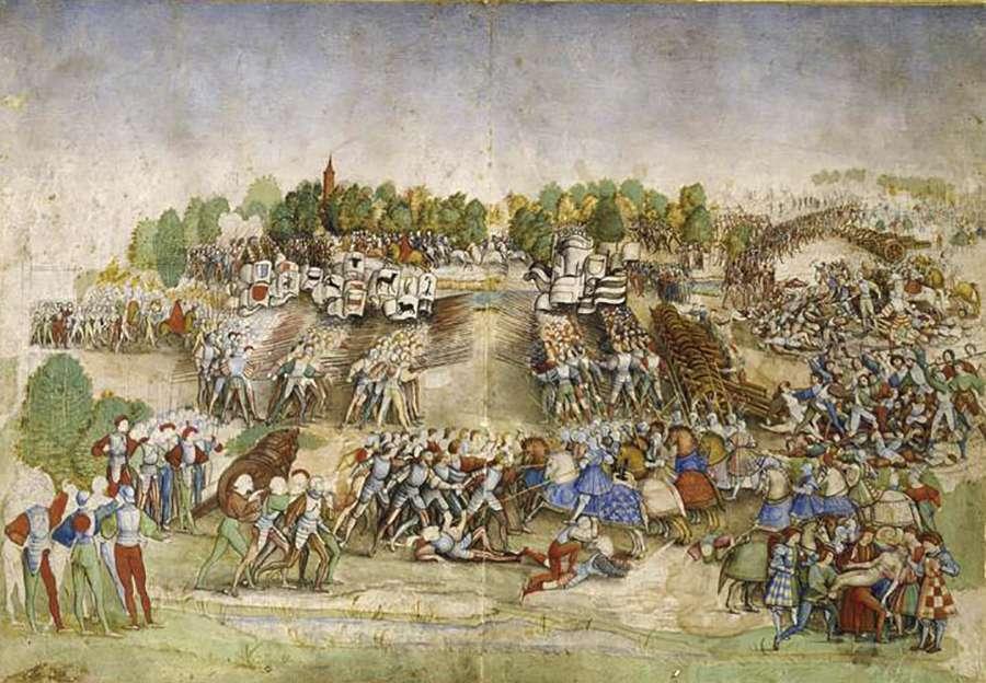La bataille de Marignan. Enluminure sur parchemin dite Le maître à la ratière. © Domaine de Chantilly, RNM, Wikimedia Commons