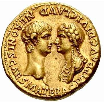 Pièce d'or romaine à l'effigie de Néron et Agrippine. © DR