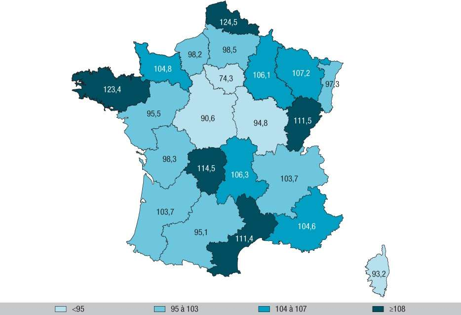 Ratio standardisé de mortalité par accident de la vie courante et par région, en France métropolitaine, en 2012. Le Nord–Pas-de-Calais et la Bretagne enregistrent plus de décès. © Agence santé publique France, BEH du 10 janvier 2017.
