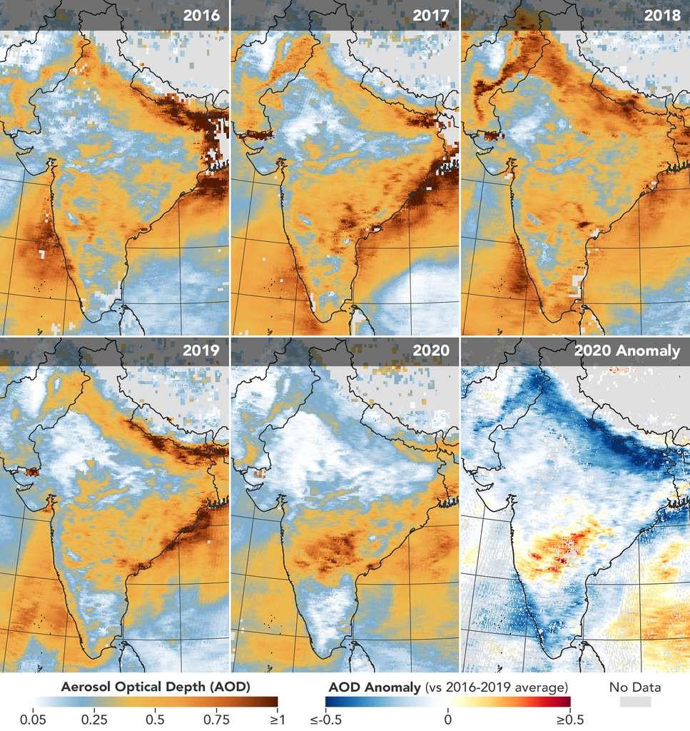 Les cinq premières cartes ci-dessus montrent les profondeurs optiques des aérosols (AOD) sur l'Inde entre le 31 mars et le 5 avril, de 2016 à 2020 — données du satellite Terra. La sixième carte illustre l'anomalie de l'AOD en 2020 par rapport à la moyenne 2016-2019. Une AOD supérieure ou égale à 1 révèle des conditions brumeuses. Une AOD inférieure à 0,1, en revanche, suggère une atmosphère «propre». © NASA Earth Observatory images by Joshua Stevens, using Terra MODIS analysis courtesy of Pawan Gupta/USRA/Nasa