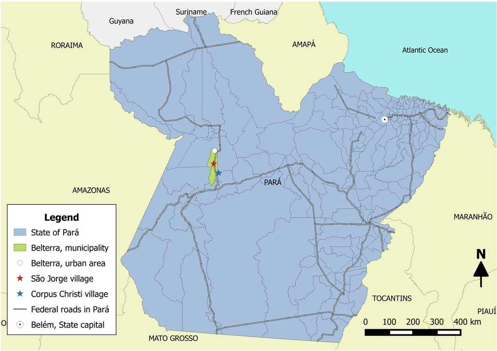 Carte de la région étudiée. La commune de Belterra se trouve dans l'ouest de l'État du Pará. © da Silva et al., PLOS Neglected Tropical Diseases 2018