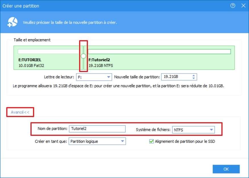 Réglage du nom et de la taille de la partition ainsi que du système de fichiers. © AOMEI