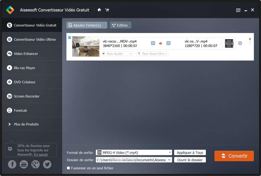 Convertisseur Vidéo Gratuit offre une interface assez simple et de nombreux profils préenregistrés © Aiseesoft Studio