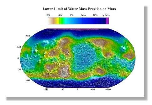 Carte montrant les zones aquifères de Mars. © Nasa