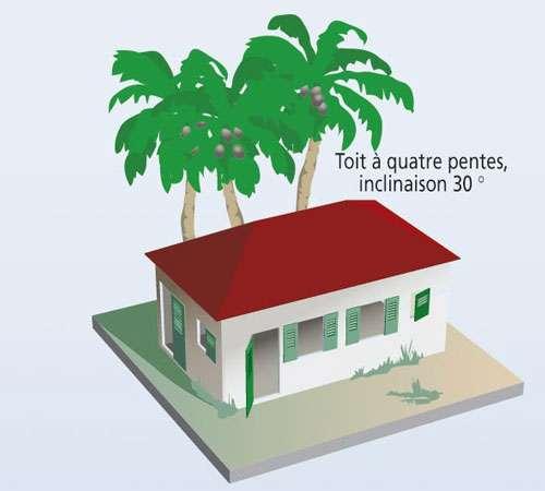 Toit à quatre pentes ; inclinaison 30°. © Prim.net