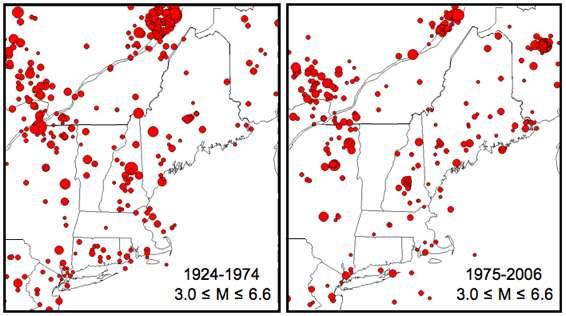 Une carte des tremblements de terre en Nouvelle-Angleterre et dans les régions avoisinantes (New York est situé tout en bas à gauche sur la carte). Les données pour 1924-1974 proviennent de l'USGS, et celles pour 1975-2006 sont tirées des archives de l'observatoire Weston dont les données sont enregistrées par le Réseau sismique nord-est des États-Unis. Les magnitudes sont entre 3 et 6,6. © Alan L. Kafka- Boston College