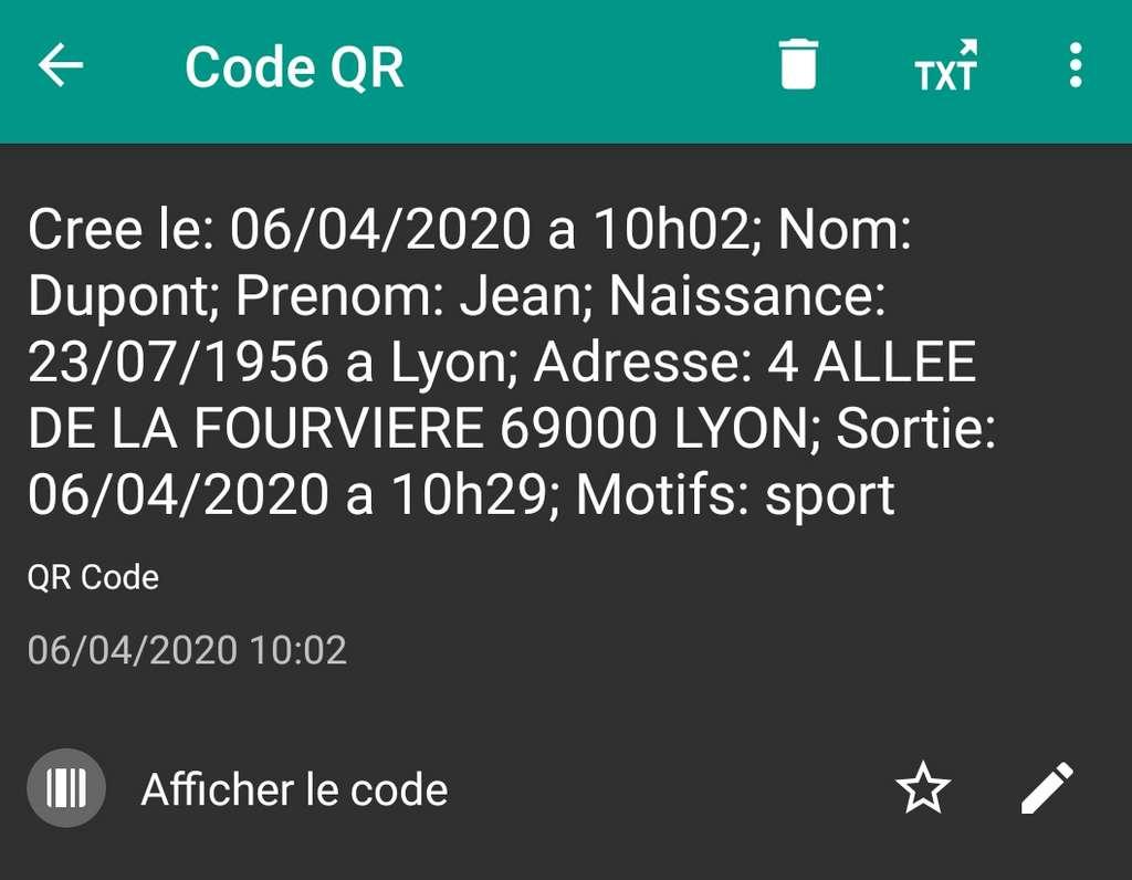 Voici ce qui s'affichera sur le lecteur QR Code d'un gendarme ou d'un policier. © Futura