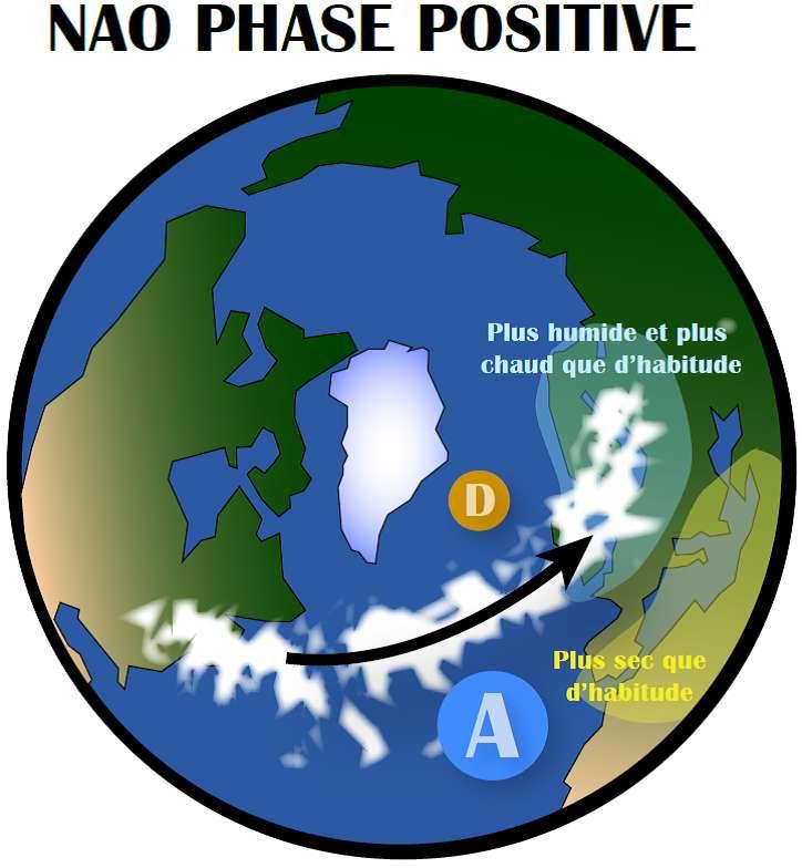 Une forte différence de pression entre l'anticyclone des Açores (A) et la dépression d'Islande (D) entraîne les tempêtes vers le Nord de l'Europe. C'est ce qui se passe lorsque la NAO est en phase positive. © Pablo Ortega
