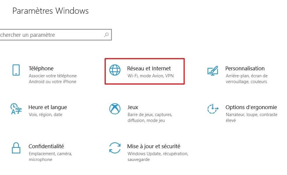 Choisissez « Réseau et Internet » parmi les paramètres de Windows qui vous sont proposés. © Microsoft