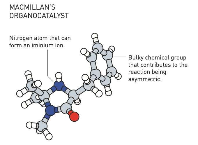 David MacMillan a conçu des catalyseurs organiques capables de former les ions iminium. Certains se sont révélés d'excellents catalyseurs asymétriques. © Johan Jarnestad, Académie royale des sciences de Suède