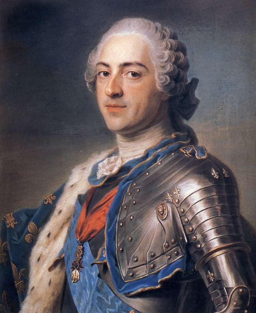 Portrait de Louis XV par Maurice-Quentin de La Tour, en 1748. Musée du Louvre, département des arts graphiques. © RMN (Musée du Louvre), domaine public