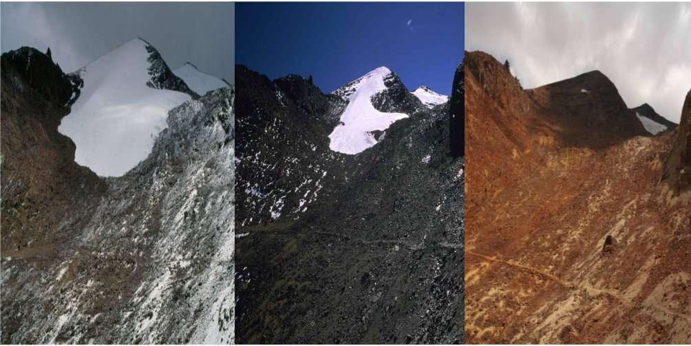 Le glacier de Chacaltaya, situé en Bolivie, culmine à 5.350 m. À gauche, le glacier pris en 1994, au centre en 2000 et à droite en 2009. Le glacier a complètement disparu. © Bernard Francou