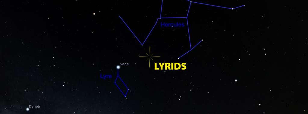 Le radiant des Lyrides se situe entre le genou de la constellation d'Hercule (surnommé l'Agenouillé d'ailleurs) et Véga, l'étoile la plus brillante de la Lyre. © IMO.net
