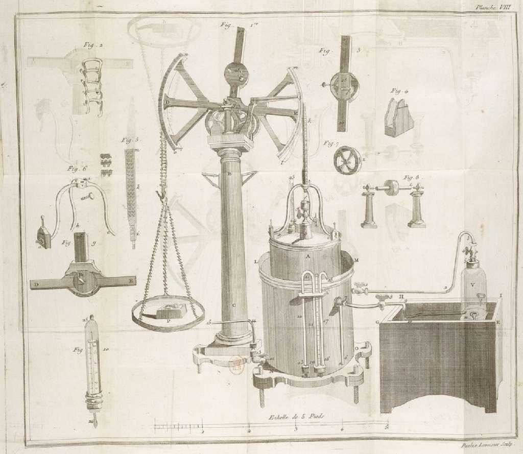 Représentation du grand gazomètre de Lavoisier, planche VIII dans le Traité élémentaire de chimie de 1789. BnF. © gallica.bnf.fr/BnF