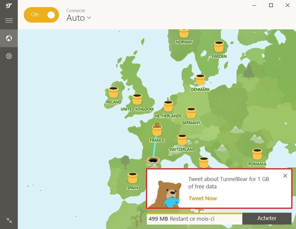 Tweetez à propos de TunnelBear pour gagner 1 Go de données! © TunnelBear