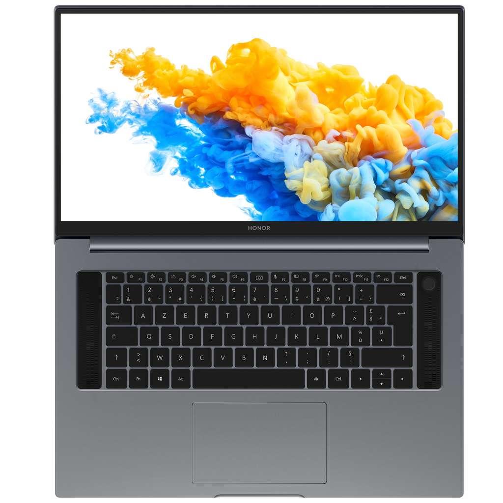 Parmi les particularités de ce MagicBook Pro, on trouve un écran doté d'une diagonale de 16,1 pouces quasiment dénué de bordures avec une surface d'occupation de 90 %. © Honor