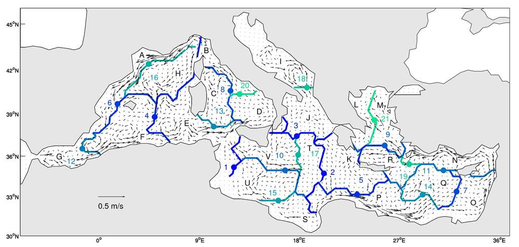 Régionalisation obtenue par la méthode, superposée aux courants moyens dans la couche 0-100 m issus du modèle Mercator PSY2V3. La couleur de chaque frontière correspond à son ordre d'apparition dans la classification hiérarchique. © Léo Berline et al.