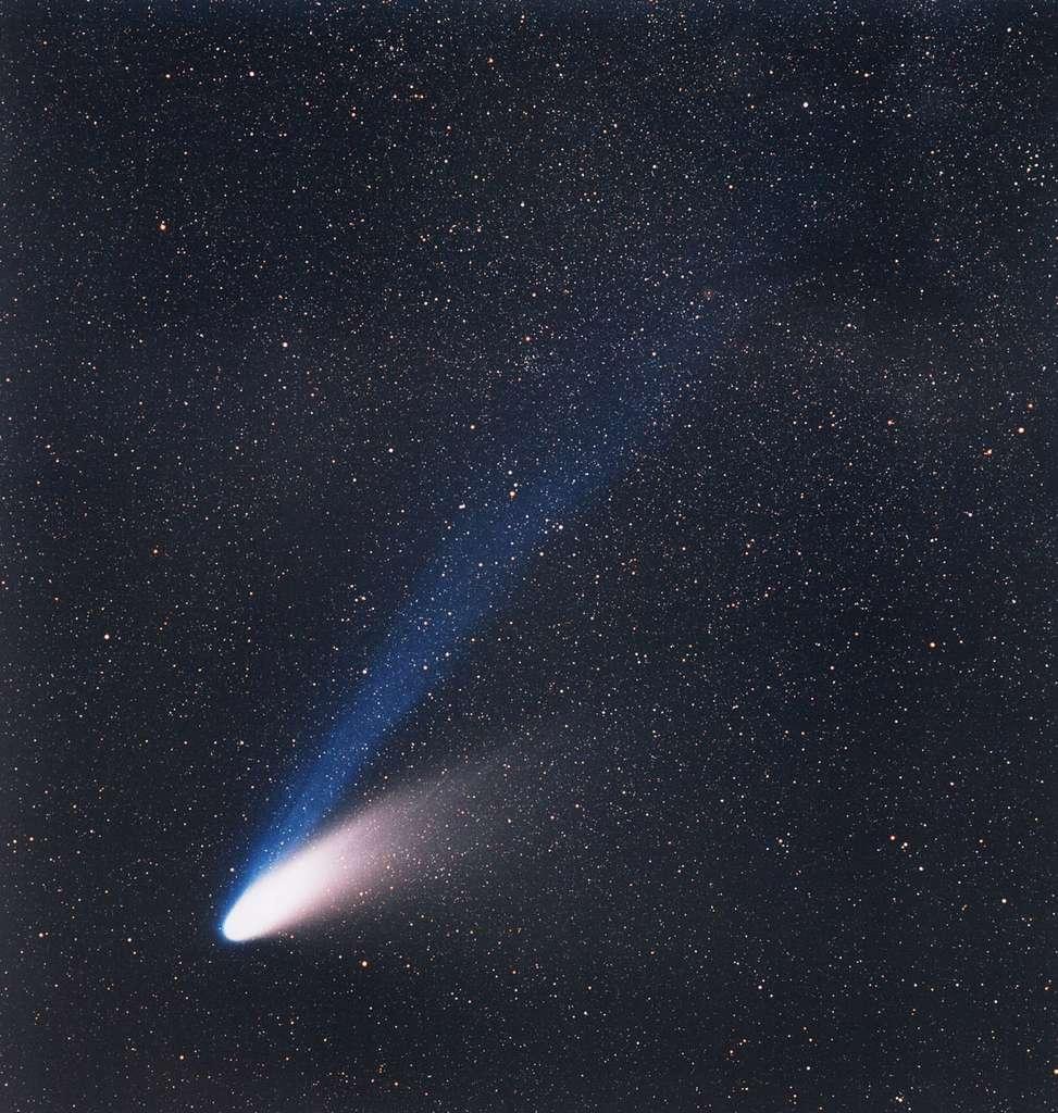 La comète C/1995 O1 Hale-Bopp, le 14 mars 1997. Venue des profondeurs du Système solaire, cette comète à longue période était visible à l'œil nu à la fin de l'hiver de 1997. Elle ne reviendra que dans plus de 2.500 ans. © ESO, E. Slawik